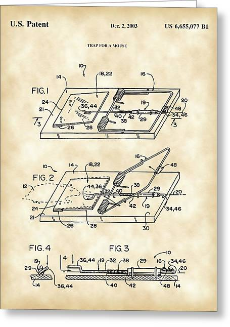 Exterminator Greeting Cards - Mouse Trap Patent - Vintage Greeting Card by Stephen Younts