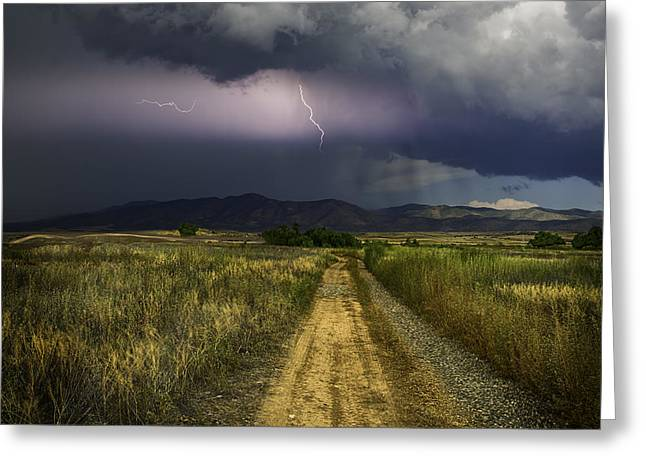 Prescott Greeting Cards - Moutain Lightning Greeting Card by Janet Ballard