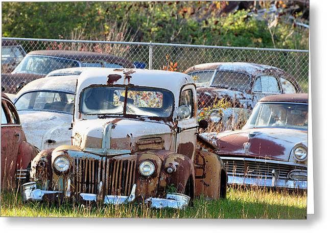 Rusted Cars Greeting Cards - Move It or Lose It Greeting Card by Jan Amiss Photography