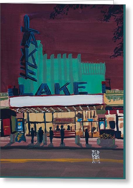 Pleinair Greeting Cards - Movie Night in the Village Greeting Card by Ted Gordon