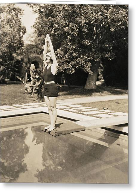 Movie Star About To Dive Greeting Card by Underwood Archives