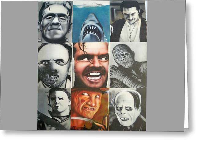 Freddy Kruger Greeting Cards - Movie Villians Greeting Card by Brett Sauce