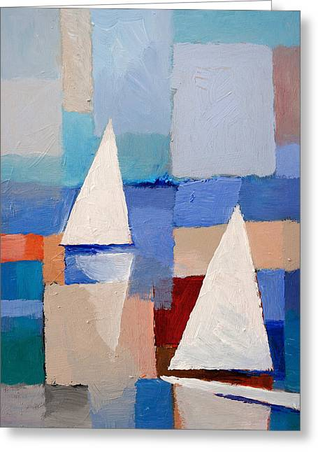 Moving Colors Greeting Cards - Abstract Sailboats Greeting Card by Lutz Baar