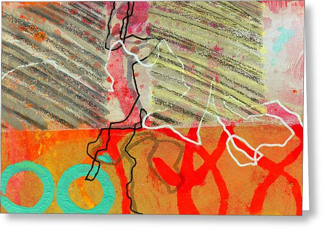 Abstract Grid Greeting Cards - Moving Through 7 Greeting Card by Jane Davies