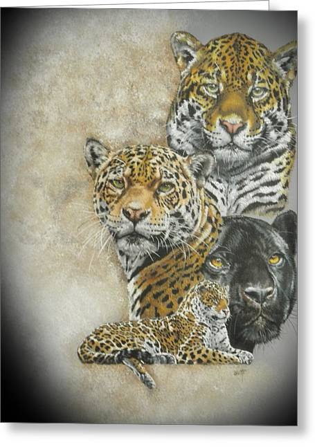Jaguars Mixed Media Greeting Cards - Moxie 2 Greeting Card by Barbara Keith