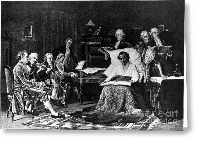 Rehearsing Greeting Cards - Mozart Rehearsing His Requiem Mass Greeting Card by Science Source