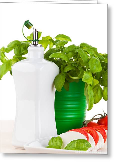 Olive Green Greeting Cards - Mozzarella salad with fresh basil tomatoes and olive oil Greeting Card by Wolfgang Steiner