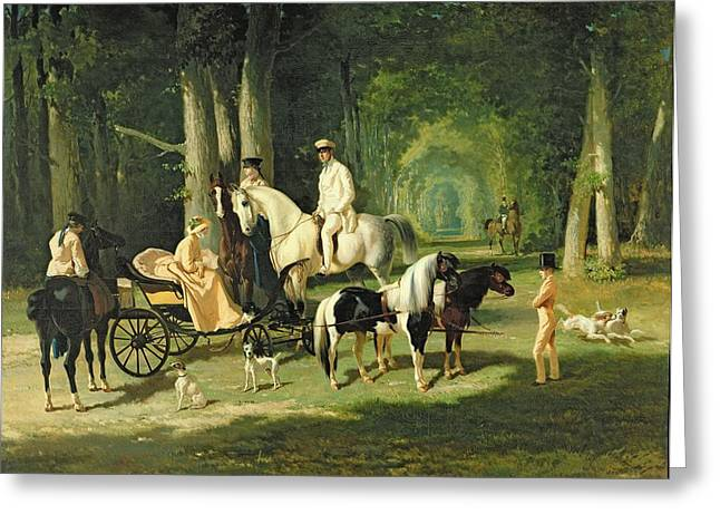 Horse And Cart Paintings Greeting Cards - Mr and Mrs A Mosselman and their Two Daughters Greeting Card by Alfred Dedreux