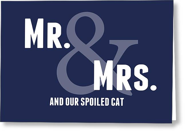 Wedding Greeting Cards - Mr and Mrs and Cat Greeting Card by Linda Woods