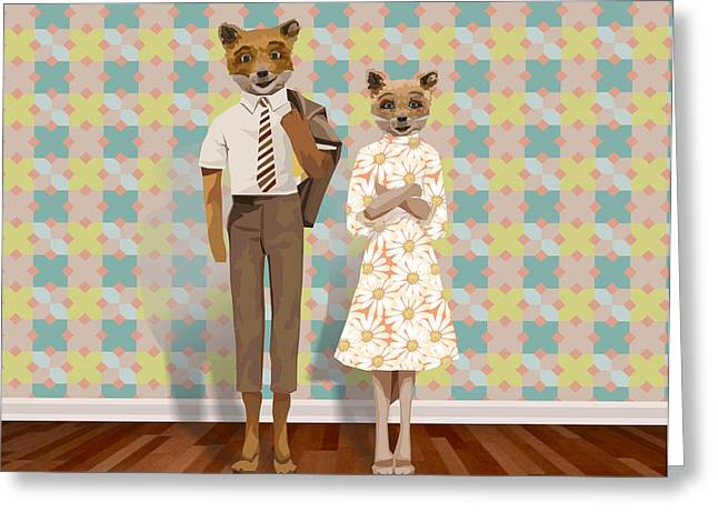 Mr. And Mrs. Fox Greeting Card by Rachel Mindes