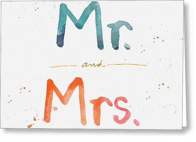 Mr And Mrs Greeting Card by Linda Woods
