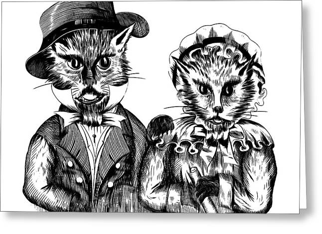 Mr. And Mrs. Pussy Cat Greeting Card by Edward Fielding