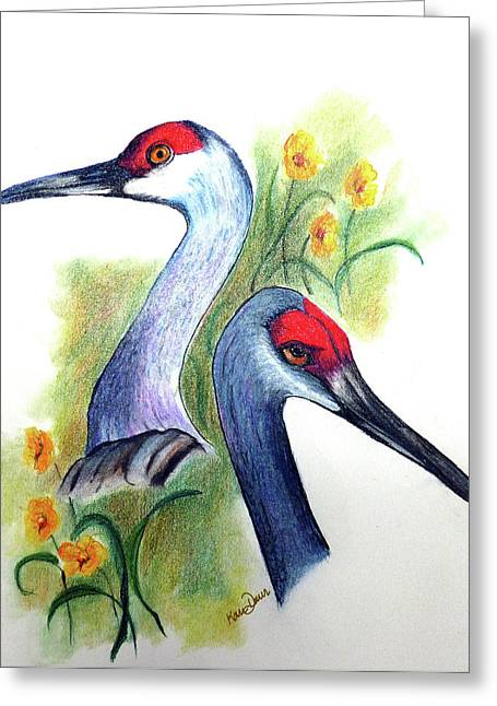 Sandhill Cranes Pastels Greeting Cards - Mr and Mrs SANDHILL CRANES Greeting Card by Karin Kelshall- Best