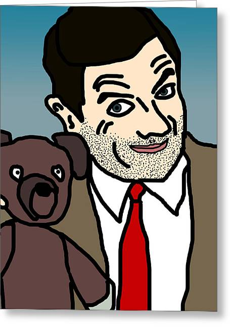Cute Bear Cartoon Greeting Cards - Mr Bean and Teddy Greeting Card by Jera Sky