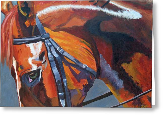 Quarter Horses Paintings Greeting Cards - Mr. Big Stuff Greeting Card by Anne West