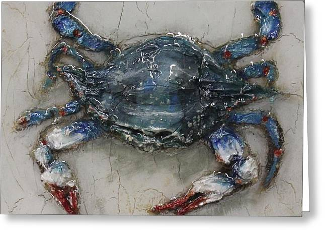 Snorkel Mixed Media Greeting Cards - Mr Crab Greeting Card by Maria Boudreaux