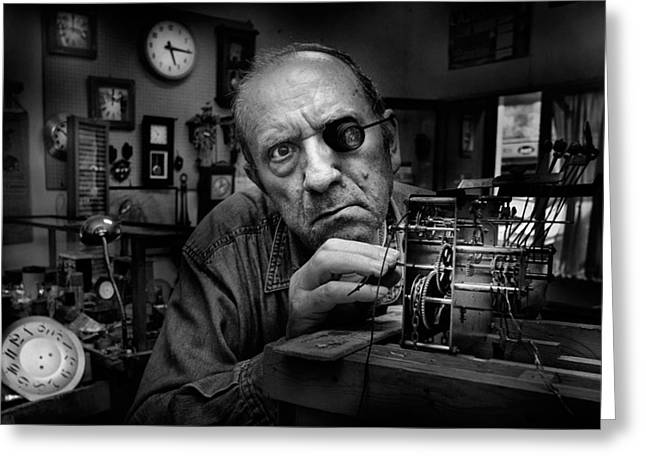 Watchmaker Greeting Cards - Mr. Domenico, The Watchmaker, To Work With Complicated Mechanisms Greeting Card by Antonio Grambone