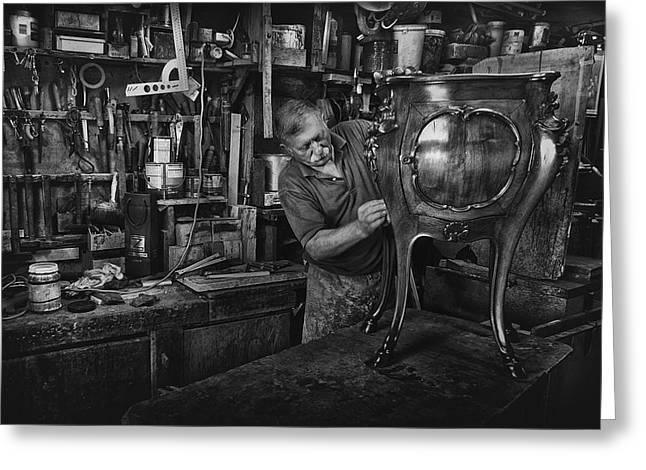 Mr. Francesco - Final Polishing... Greeting Card by Antonio Grambone