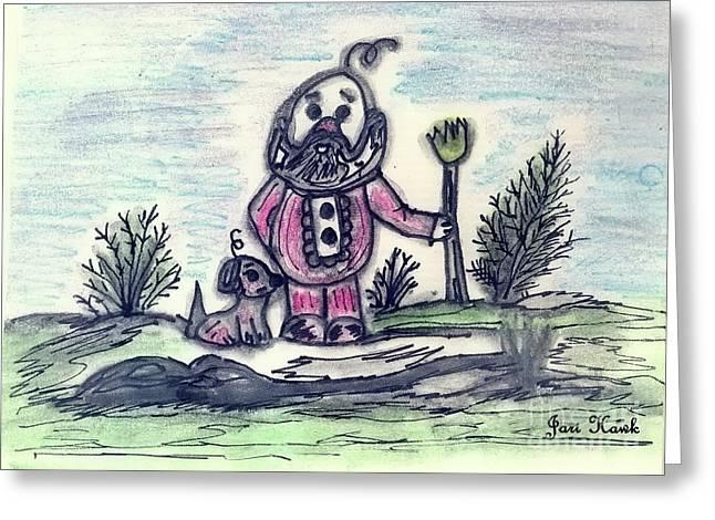 Chihuahua Artwork Greeting Cards - Mr. Gnome and His Chihuahua Greeting Card by Jari Hawk