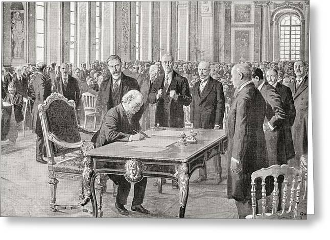 Liberal Drawings Greeting Cards - Mr. Lloyd George Signs The Peace Treaty Greeting Card by Vintage Design Pics