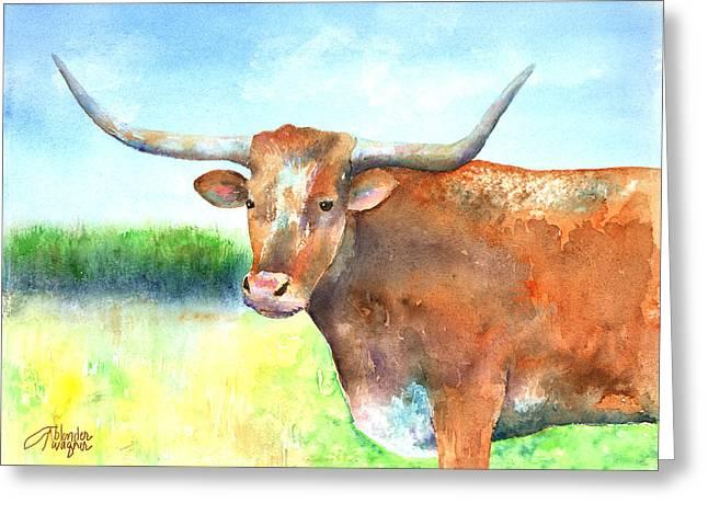 Steer Greeting Cards - Mr. Longhorn Greeting Card by Arline Wagner