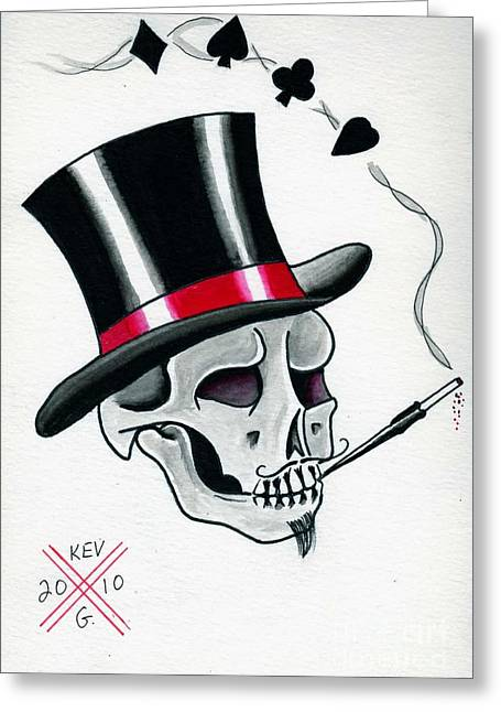 Tattoo Flash Paintings Greeting Cards - Mr. Lucky Greeting Card by Kevin  Guinn