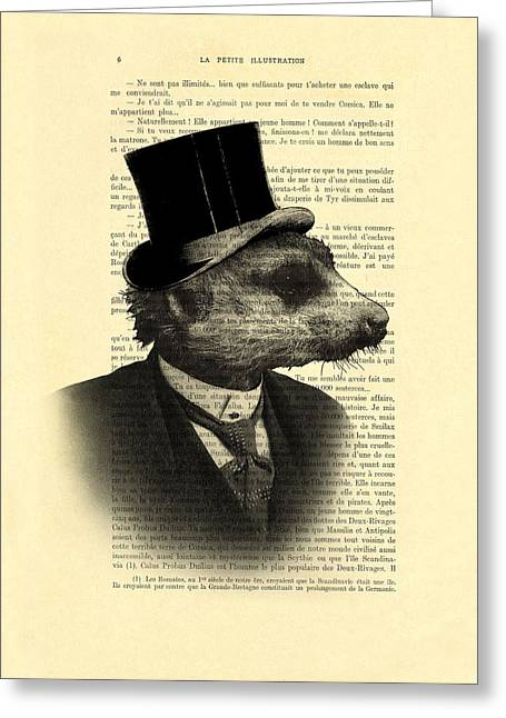 Meerkat Portrait In Black And White Greeting Card by Madame Memento