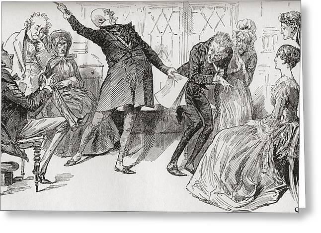 Outwit Greeting Cards - Mr. Micawber Achieves The Downfall Greeting Card by Vintage Design Pics