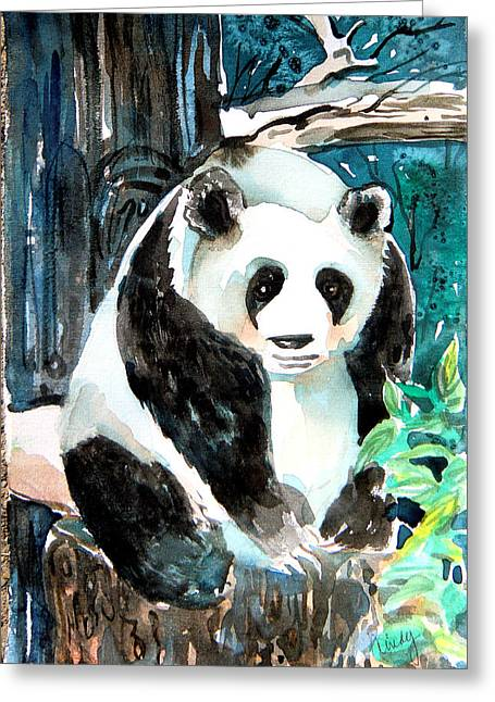 Pine Tree Drawings Greeting Cards - Mr. Panda Greeting Card by Mindy Newman