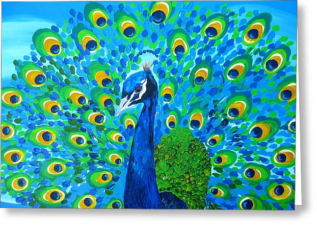 Cushion Paintings Greeting Cards - Mr Peacock Greeting Card by Cathy Jacobs
