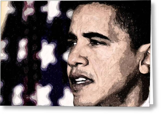 Barack Digital Art Greeting Cards - Mr. President Greeting Card by LeeAnn Alexander