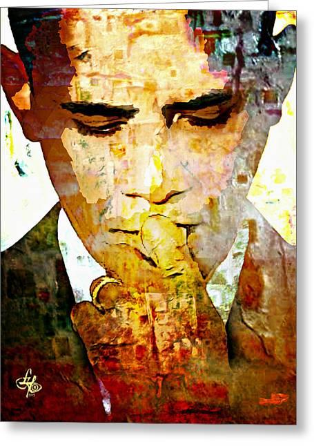 President Obama Greeting Cards - Mr. President Greeting Card by Lynda Payton
