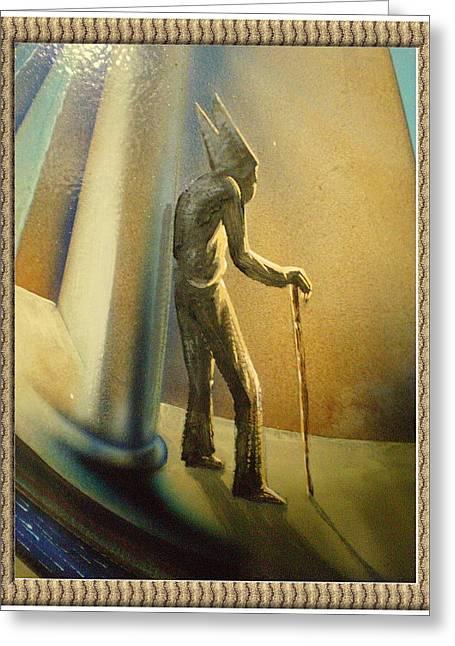 Etc. Paintings Greeting Cards - Mr Religion Grows Old Greeting Card by Joe Santana