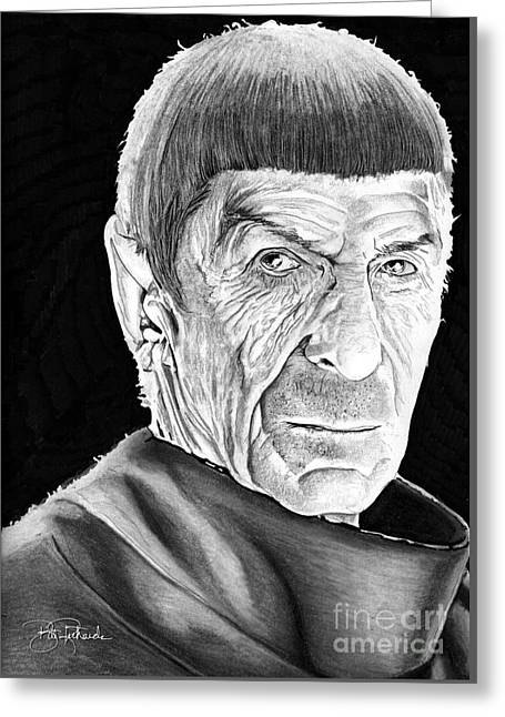 Enterprise Drawings Greeting Cards - Mr Spock Greeting Card by Bill Richards