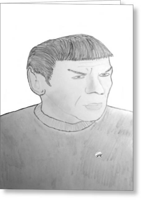 Spock Drawings Greeting Cards - Mr Spock Greeting Card by Tom Zukauskas