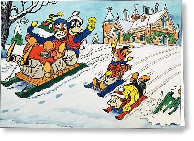 Toboggan Greeting Cards - Mr Toad tobogganing Greeting Card by English School
