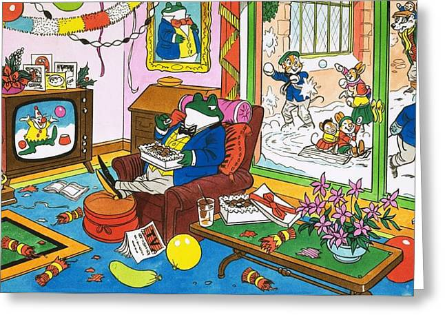 Mr Toad Watching Television Greeting Card by English School