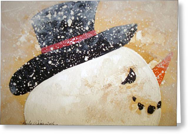 Frosty Mixed Media Greeting Cards - Mr.Frosty Greeting Card by Paula Weber