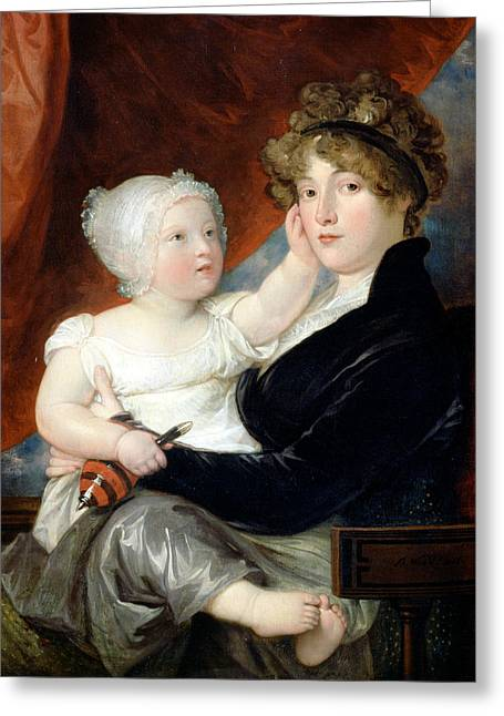 Mrs Benjamin West II With Her Son Benjamin West IIi Greeting Card by Benjamin West
