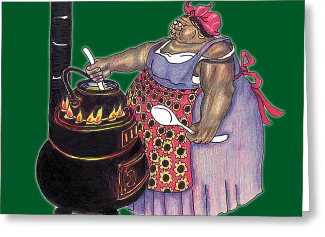 African-american Drawings Greeting Cards - Mrs. Brown Preparing Supper Greeting Card by Walter Oliver Neal