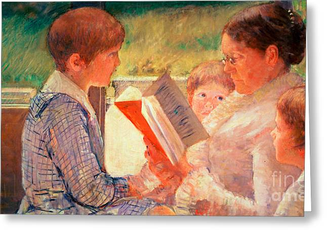 Mrs Cassatt Reading To Her Grandchildren Greeting Card by Mary Stevenson Cassatt