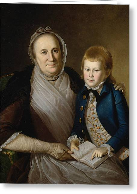 Mrs. James Smith And Grandson Greeting Card by Charles Willson Peale