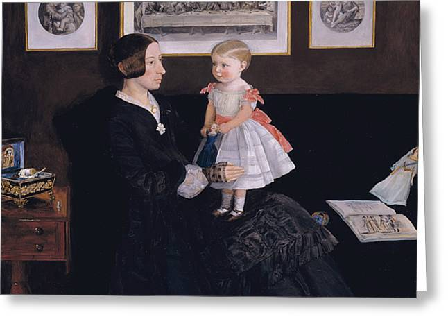 Pre-19th Greeting Cards - Mrs James Wyatt Jr and her Daughter Sarah  Greeting Card by John Everett Millais