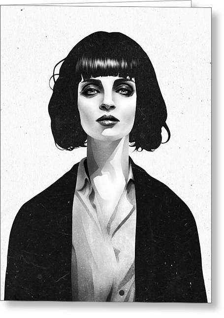 White Greeting Cards - Mrs Mia Wallace Greeting Card by Ruben Ireland