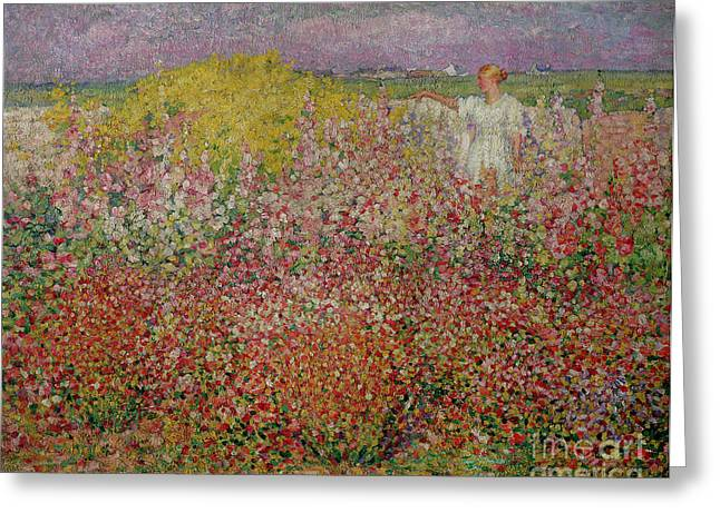 Park Scene Greeting Cards - Mrs Russell Amongst the Flowers at Belle Isle Greeting Card by John Peter Russell