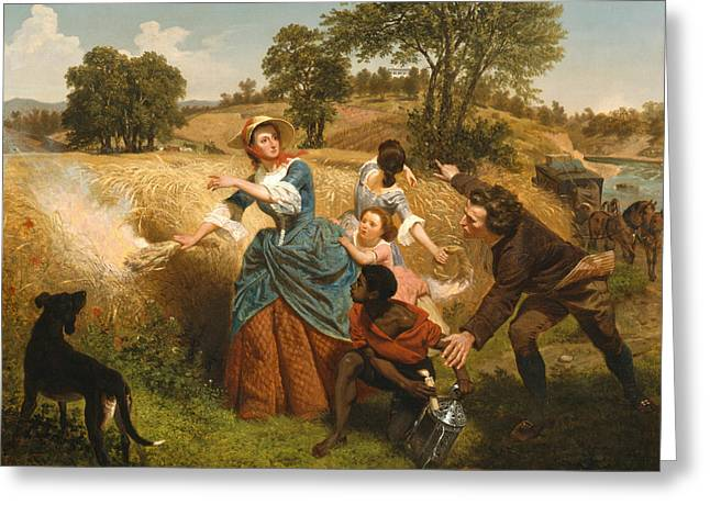 Mrs Schuyler Burning Her Wheat Fields On The Approach Of The British Greeting Card by Emanuel Leutze
