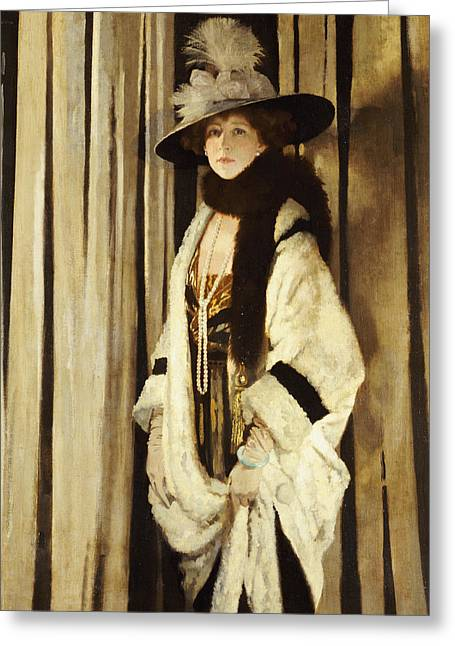 Mrs St George Greeting Card by Sir William Orpen