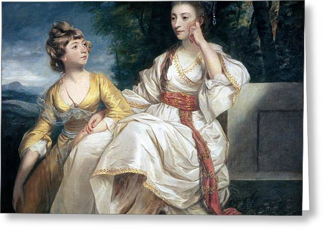 Lost In Thought Paintings Greeting Cards - Mrs Thrale and her Daughter Hester Greeting Card by Sir Joshua Reynolds