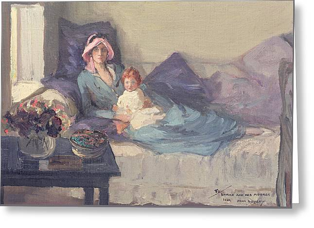 Cushion Paintings Greeting Cards - Mrs Winston Churchill with her daughter Sarah Greeting Card by Sir John Lavery