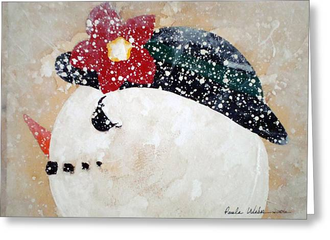 Frosty Mixed Media Greeting Cards - Mrs.Frosty Greeting Card by Paula Weber